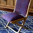 Rugs-USA-Folding-Chairs-Solid-Tweed-Sari-Silk-Folding-Chair-Blue